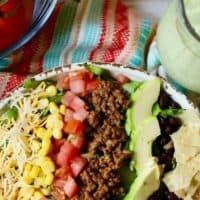 Beef Taco Salad with Avocado Cilantro-Lime Dressing