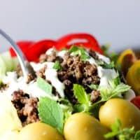 15-minute KETO Greek Bowl (beef or lamb; amazing flavors!!; Primal, GAPS, low-carb)