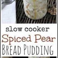 Slow Cooker Spiced Pear Bread Pudding Recipe