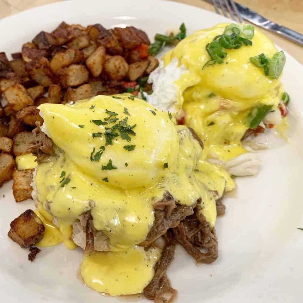 Debris benny and crabmeat benny at Liz's Where Y'at Diner in Mandeville, Louisiana