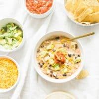 Easy Tortilla-Less Crockpot Creamy Chicken Enchilada Soup
