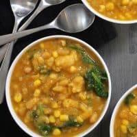 Easy Vegan Pumpkin Soup with Sweet Corn and Tarragon