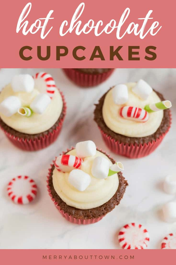 Hot chocolate cupcakes with peppermint and marshmallows on top