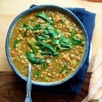Instant Pot Golden Lentil & Spinach Soup