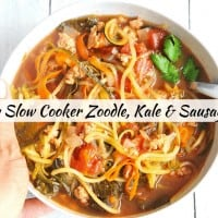 Zoodles & Kale Soup with Sausage {Slow Cooker, Instant Pot & Stove Top Directions}