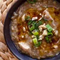 Slow Cooker Brown Rice Chicken Congee