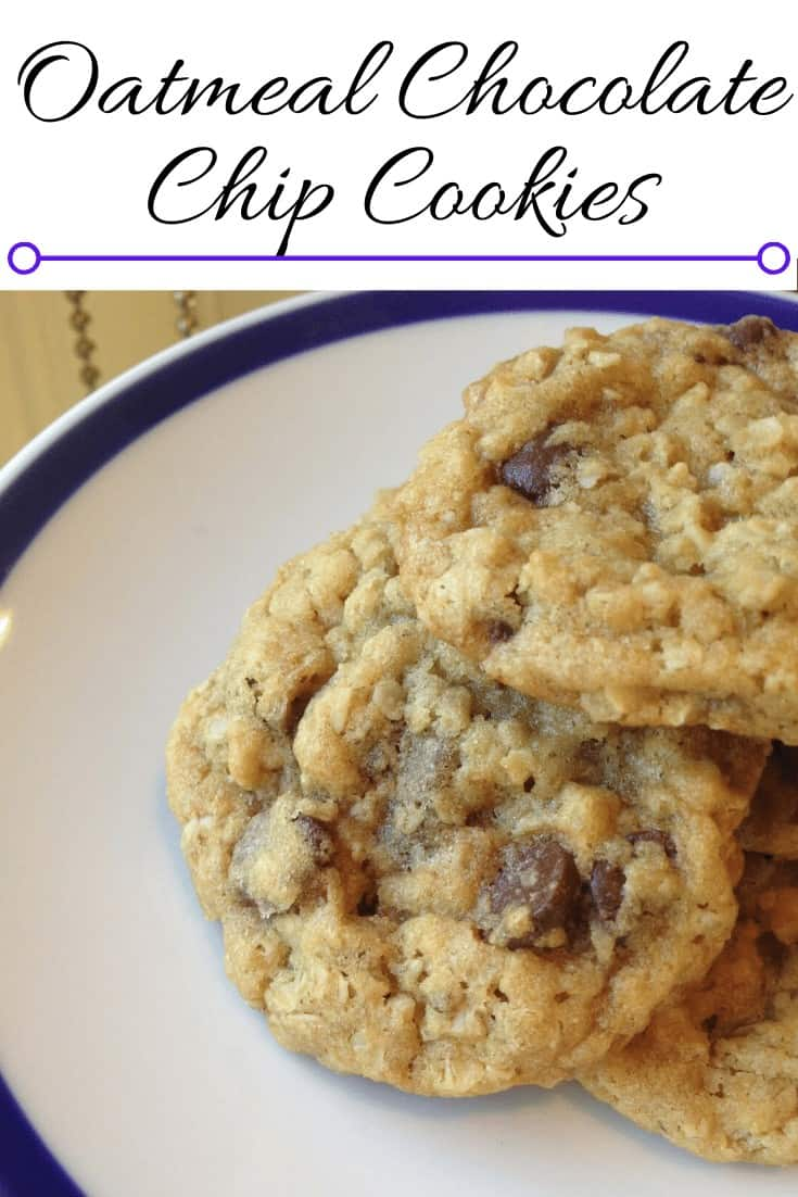 Oatmeal chocolate chip cookies on a white plate