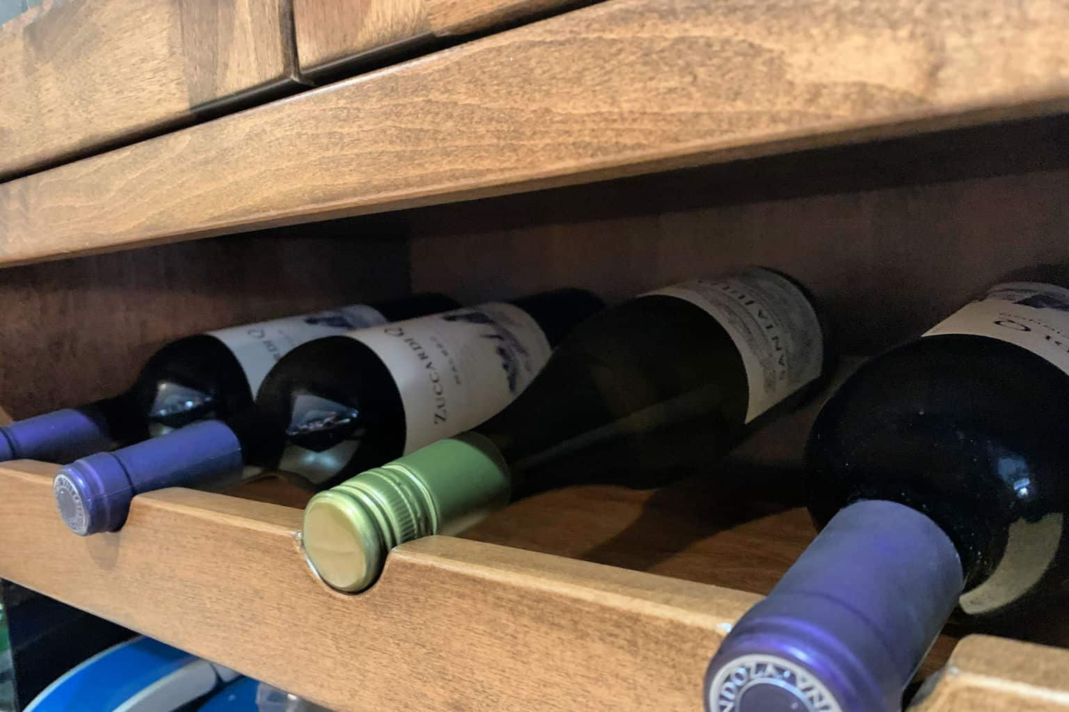 wine in a wine rack