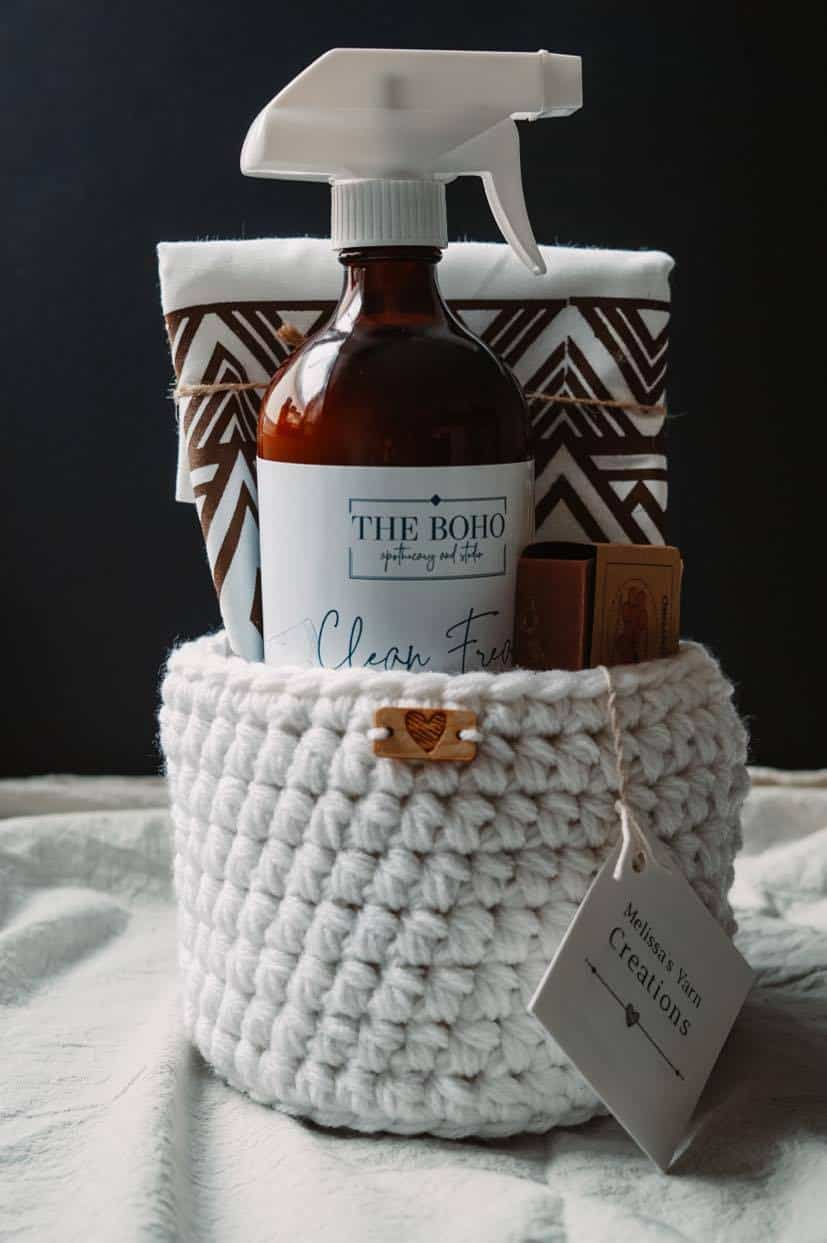 Boho Apothecary cleaning gift basket