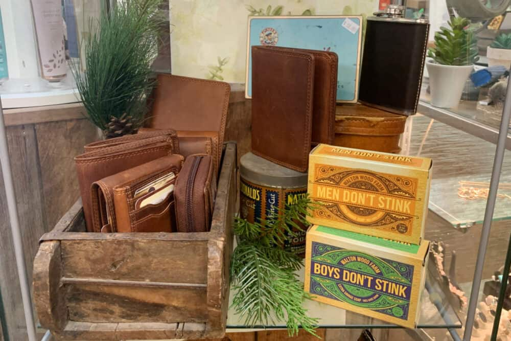 leather wallets and soap display