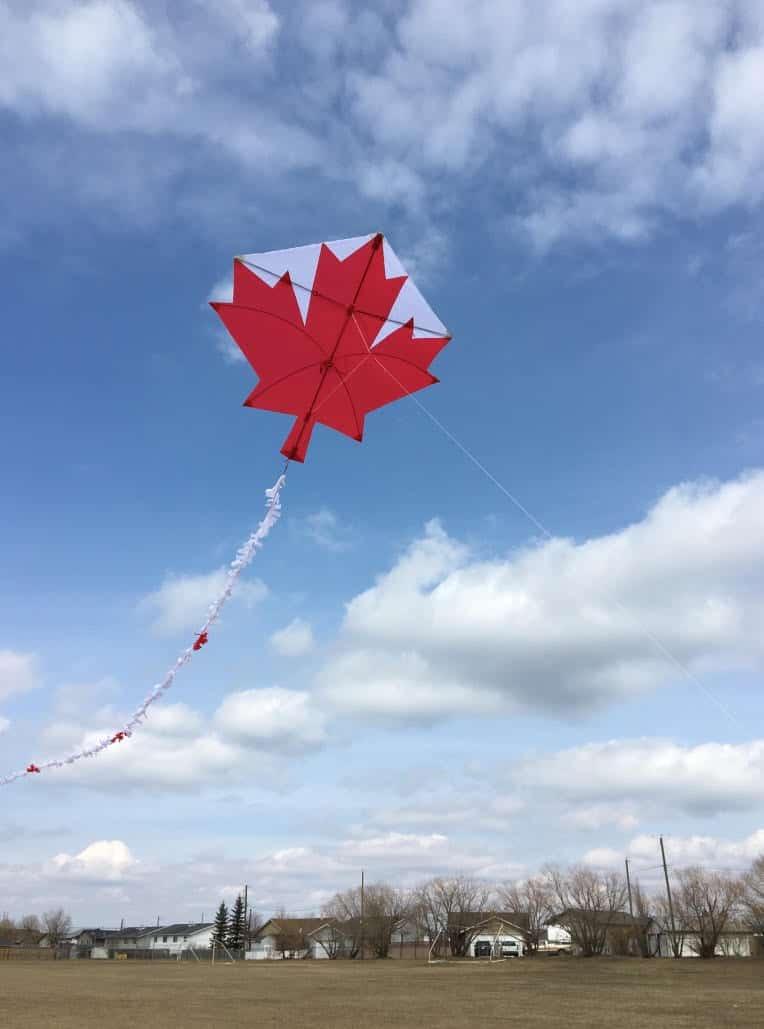 Custom maple leaf flag from The Kite Guys