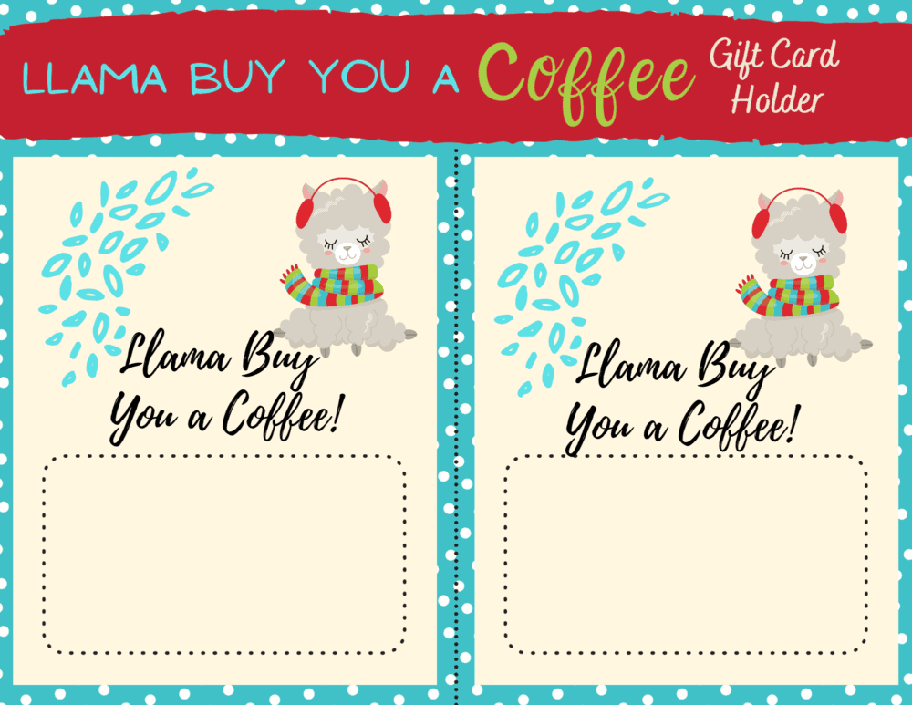 Llama christmas coffee card printable