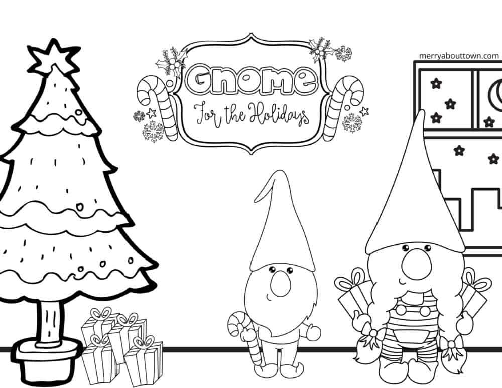 Gnome for the Holidays coloring sheet