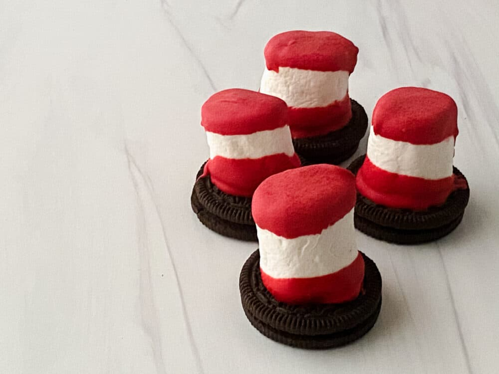 Dr. Seuss Cat in the Hat marshmallow hat treats