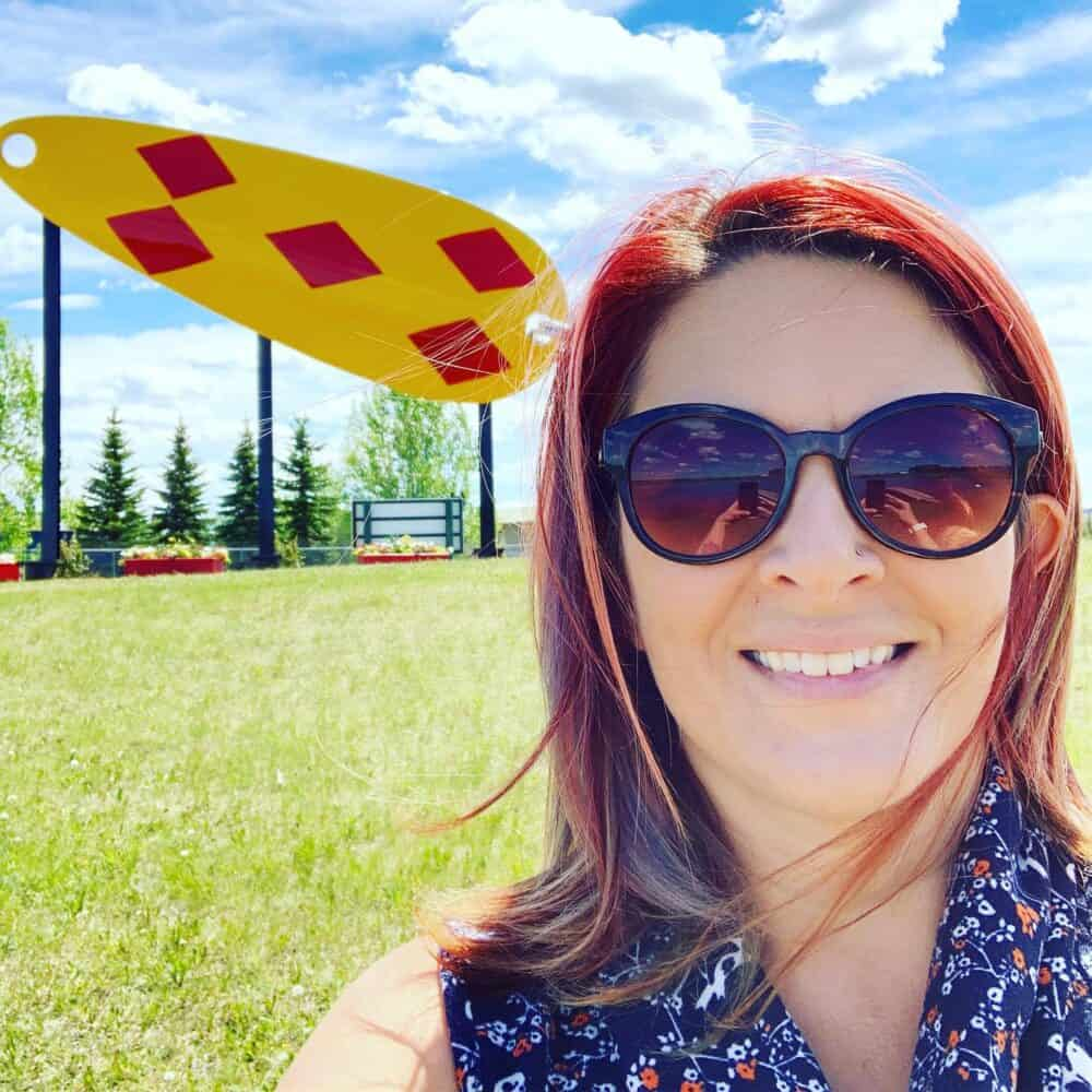 Selfie by the world's largest fishing lure in Lacombe, AB