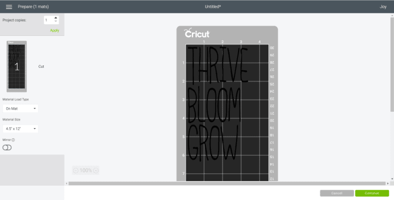 Select Make It in Cricut Design Space to send your design to the cutting mat