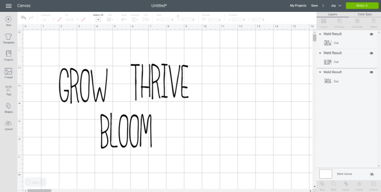 Three words in Cricut Design Space - GROW, THRIVE, and BLOOM