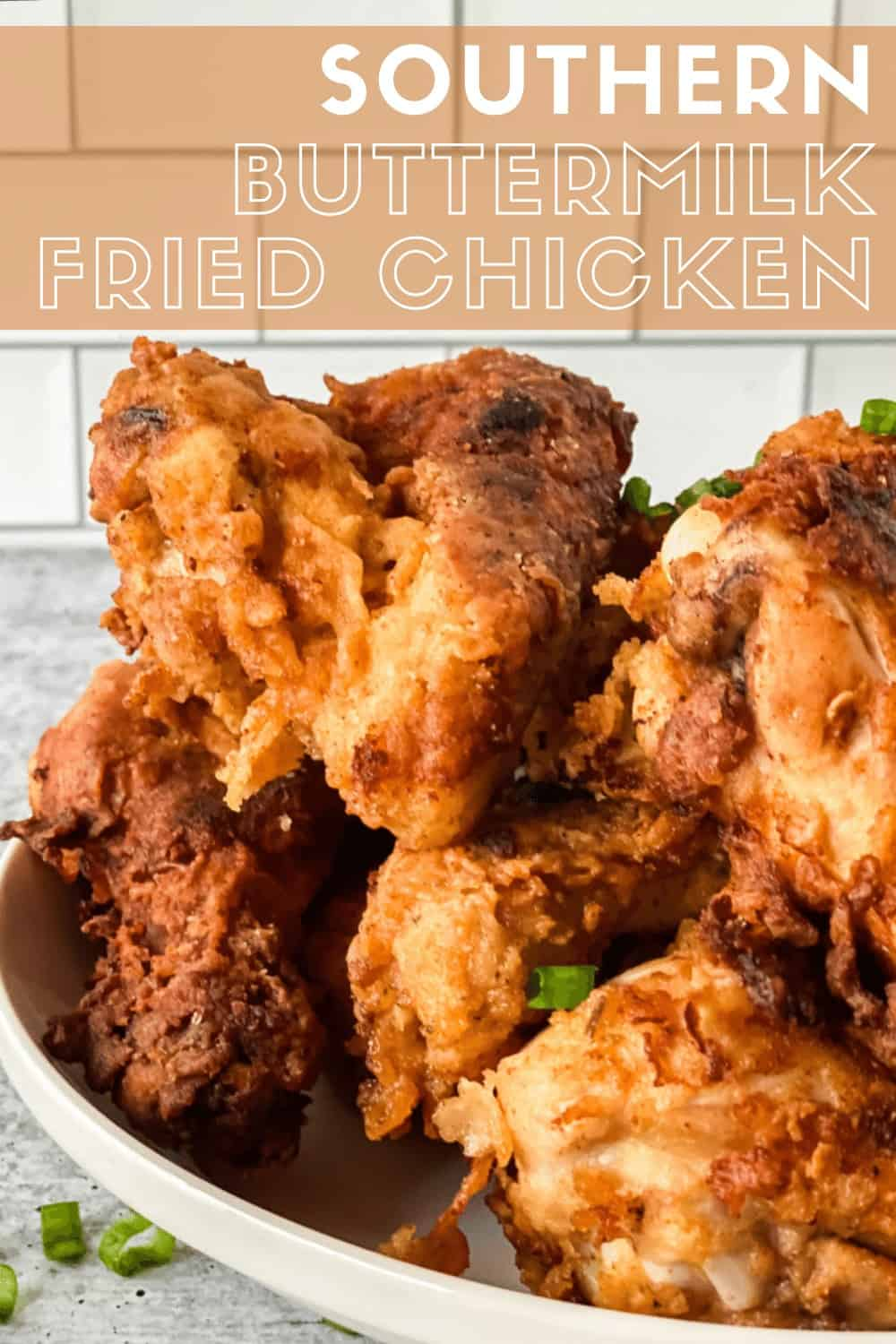 Southern fried chicken in a white bowl