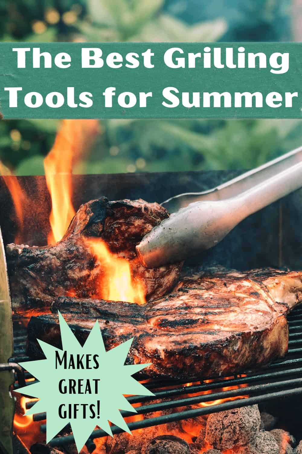 Tongs flipping a steak on a bbq grill