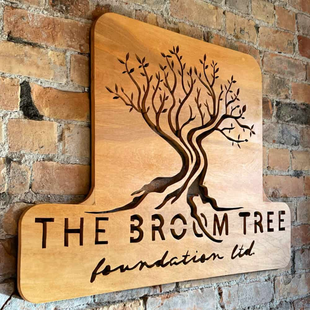 Wooden Sign from The Broom Tree Cafe in Lacombe, AB