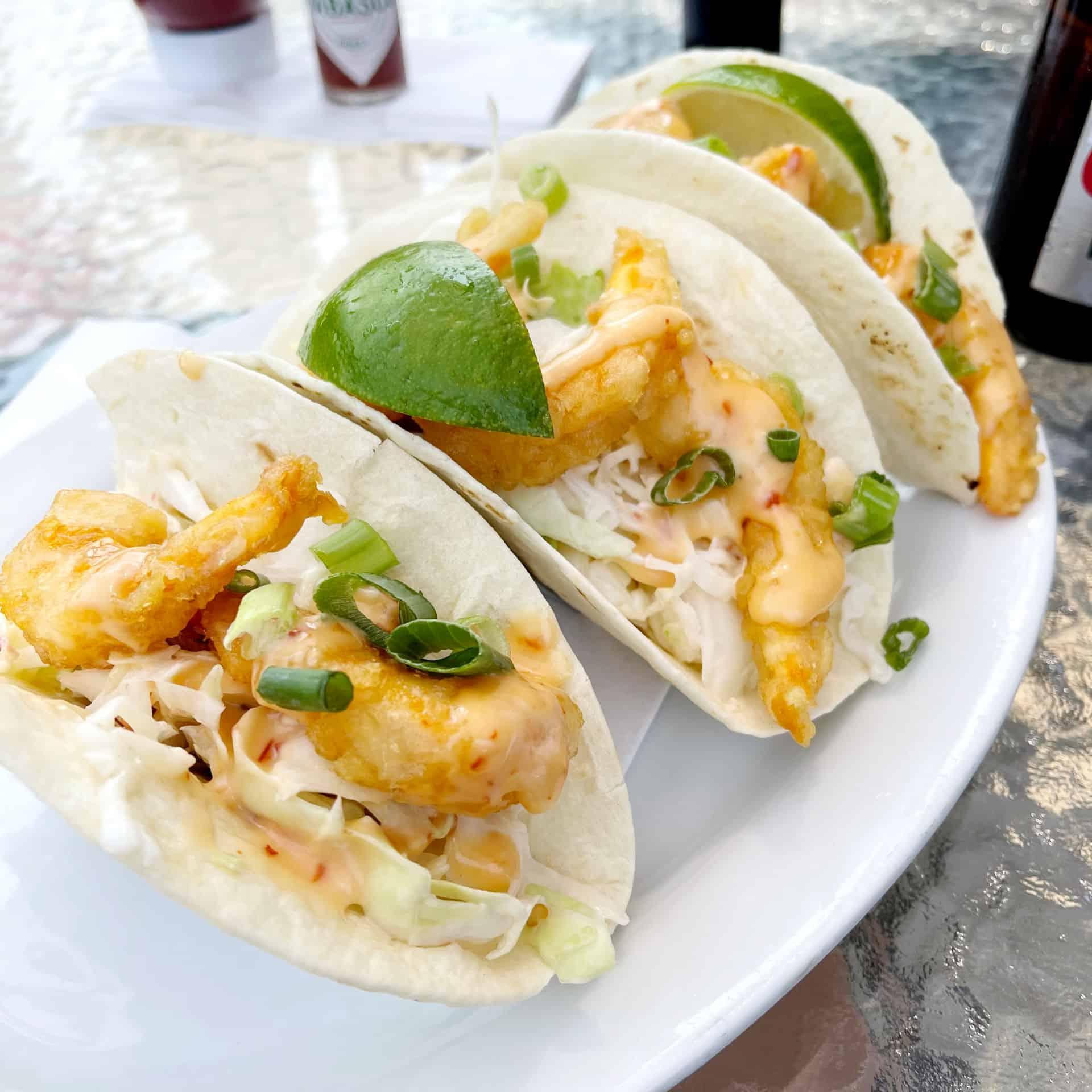 Shrimp tacos from Monkey Top Saloon in Bentley Alberta